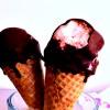 strawberry buttermilk ice cream + bombesticks
