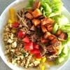 barbacoa steak salad with cumin-spiced sweet potatoes