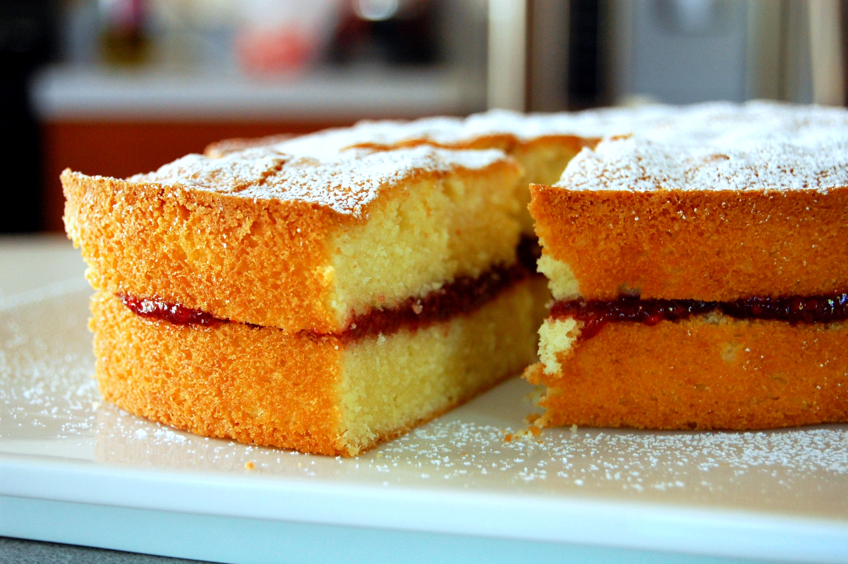almond cake with fruit preserves