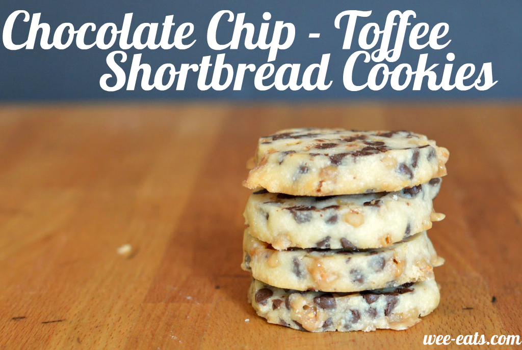 chocolate chip toffee shortbread cookies | wee eats